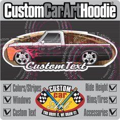 Custom Art Black Hoodie 67-72 GMC Sierra Chevy C-10 Cheyenne short Pickup truck  #Champion #PersonalizedCustomCarArtHoodie