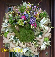 30 Natural Burlap Wreath with MOSS WATERING Can by decoglitz