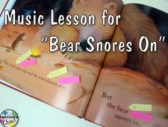 "Organized Chaos: Teacher Tuesday: music lesson for ""Bear Snores On"". Such a cute book for lower elementary/ kindergarten! Great for introducing timbre, sound sources, found sound, instrument names etc. by adding sound effects to the story. Kindergarten Music Lessons, Elementary Music Lessons, Music Lessons For Kids, Music Lesson Plans, Music For Kids, Teaching Music, Piano Lessons, Singing Lessons, Singing Tips"