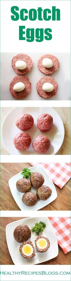I use seasoned ground beef for my Scotch eggs, skip the breading, and bake them in the oven. The result is low carb, Paleo, juicy and delicious!