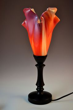 Handmade glass table lamp, orange, pink, purple.