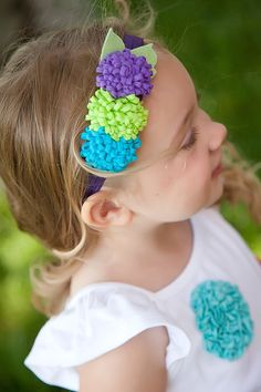 Lime Green Turquoise and Purple Felt Pom Pom by lilibirdbowtique, $12.95