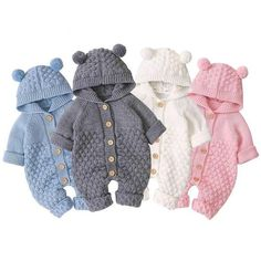 Knitted hooded jumpsuits are cute, soft and warm. Super baby rompers for autumn and winter. It is made of high quality materials as keep your precious baby warm and stylish. It is thick but not heavy. Perfect for autumn; super cute and soft design and adorable cartoon pattern with plush ears.   Great gift for baby shower. Color Options: Blue, Gray, Pink and White is available. Suitable sizes for babies 0-18 months old. Long Romper, Long Sleeve Romper, Winter Newborn, Baby Girl Fall, Jumpsuit Outfit, Hooded Sweater, Sweater Cardigan, Baby Warmer