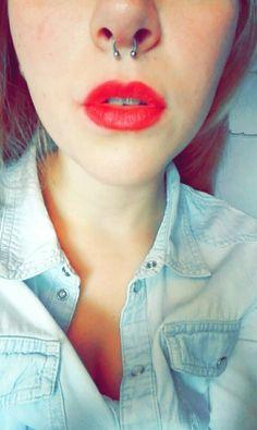 Fresh pierced septum #septum #piercing #red #lips #lipstick