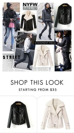 """""""NYFW Fall 2016  Street Style Shearling Jackets Trend"""" by stylepersonal ❤ liked on Polyvore featuring WithChic, women's clothing, women, female, woman, misses, juniors, StreetStyle, NYFW and jacket"""