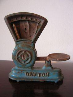 Vintage Antique Cast Iron Dayton Blue Painted Toy or Salesman Sample Candy Scale Antique Restoration and Sales Vintage Love, Vintage Decor, Vintage Antiques, Vintage Items, Vintage Props, Antique Toys, Antique Furniture, Old Scales, Cyan