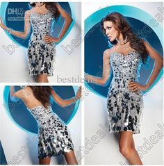 Sexyt Silver Cocktail Dresses 2013 Short Stunning Feathers Rhinestones Sequins Prom Dresses TS11356, $137.93 | DHgate.com