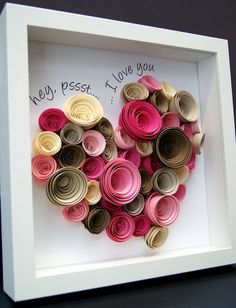 I Love You Valentine's Frame of Large Heart made up of Paper Roses for Wedding Anniversary Engagement Custom Wall Art Gift - Origami Shadowbox of Large Heart made up of Paper Roses for Wedding Anniversary Engagement Valentin - Valentines Frames, Valentines Flowers, Flower Shadow Box, Quilled Creations, Origami Heart, Origami Rose, Origami Flowers, Paper Flowers Diy, Gift Flowers