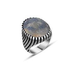 Sapphire Silver Gemstone Ring (Size 9)
