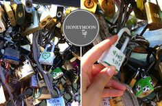 In Paris couples buy a lock and write their names and the date on it.  They then lock it to one of the bridges by Notre Dame and throw the key into the water. It symbolizes their everlasting love. I'm excited to do this someday.