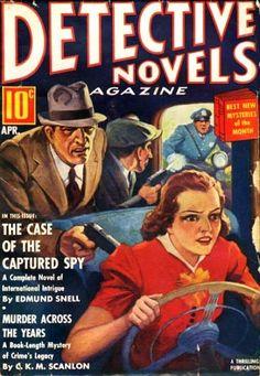 Detective Novels Magazine, pulp cover art gangster man woman dame kidnap hostage captive carjack gun pistol cop noir danger car