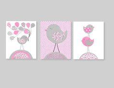 Bird Nursery Art Gray and Pink Nursery Decor Balloons Girls Room Decor Girl Nursery Art Pink Balloons Baby Shower Gift 8 x 10 or 11 x 14