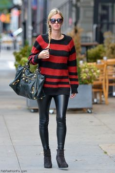 Nicky Hilton casual street style with oversized knit sweater, leather pants and Balenciaga handbag (October 2014). #nickyhilton #fabfashionfix
