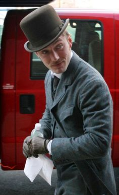 "Jude Law on the set of ""Sherlock Holmes,"" Brooklyn, NY, January 2009."