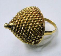 vintage antique 22 K tribal old gold ring ethnic dome shape