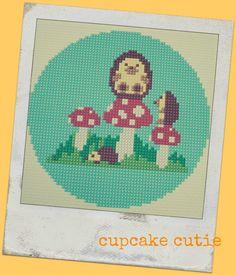 Hedgehog & Mushroom cross stitch, needlepoint, tapestry pattern. PDF, instant digital download,epattern. Woodland creature via Etsy