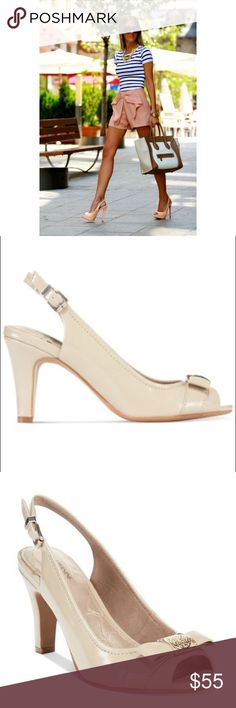 "Open Toe Slingback Pumps Peek a boo toe nude Pumps with bow. Heel measures approximately 3.5 inches"" Adjustable strap. Product Details: Imported Upper: leather man-made (light sand) Round peep-toe slingback pumps with buckle detail. First pictures shows how to style it Giani Bernini Shoes Heels"