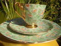 "Shelley  MARGUERITE CHINTZ  ""TRIO""  CUP,  SAUCER & PLATE -   GOLD TRIM  # 13694"