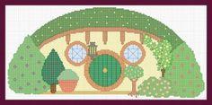 Hobbit house cross stitch pattern