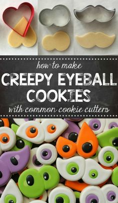 How to make creepy Halloween eyeball cookies with a heart, number eight, and mustache cookie cutters! How to make creepy Halloween eyeball cookies with a heart, number eight, and mustache cookie cutters! Halloween Desserts, Halloween Sugar Cookies, Halloween Eyeballs, Halloween Goodies, Halloween Cupcakes, Halloween Food For Party, Halloween Treats, Creepy Halloween, Halloween Cookie Cutters