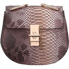 SheIn(sheinside) Coffee Snakeskin Printing Chain Bag ($26) ❤ liked on Polyvore featuring bags, handbags, coffee, coffee bags, chain bags, party bags, python purse and python handbags