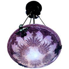 Le Verre Francais French Art Deco Dahlias Ceiling Light