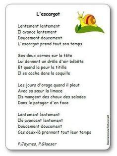 Chanson L'escargot de Jaymes French Lessons, Guided Reading, Pre School, Grade 1, Language, Classroom, Education, Snails, French Language