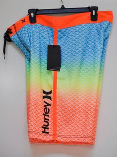 HURLEY MEN BOARD SHORTS SCALLOPS SWIM TRUNK SWIMSUIT Gradient Colored size 36 #Hurley #BoardShorts