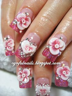 Pink Tips & 3D Acrylic Flowers