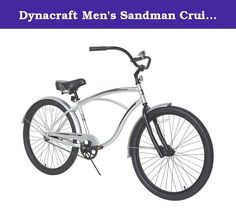 """Dynacraft Men's Sandman Cruiser Bike, Silver/Black, 26"""". Ride along the dunes in style with the 26"""" Dynacraft Sandman Mens' Bike. This single-speed cruiser features a modern design with a retro-style frame and swept-back handlebars which give it a hint of nostalgia. The 26"""" Dynacraft Sandman Mens' Bike is equipped with a spring-cushioned seat to absorb any bumps and the quick-release post makes it easy to adjust the seat to the correct height. This edgy cruiser also features a sturdy..."""