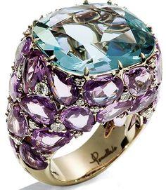Pomellato white-gold Pom Pom ring with a faceted aquamarine Tanzanite Jewelry, Gemstone Jewelry, Diamond Jewelry, Jewelry Rings, Modern Jewelry, Fine Jewelry, Pin On, Big Rings, Pomellato
