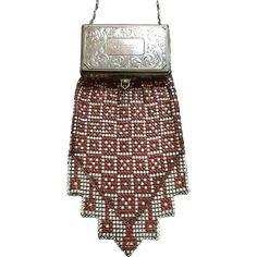 Whiting and Davis Compact Top Enamel Mesh Vanity Bag Dance Purse found at www.rubylane.com @rubylanecom
