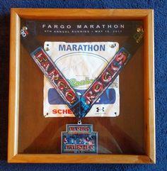 Race medal/race bib display, Shadow Box Frame with Mahogany wood