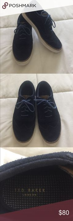Men's Ted Baker Navy Suede Oxford Shoe Ted Baker, size 9, men's navy suede oxford style shoe. In great condition! Only worn 5 times by my son before he outgrew them. Fabulous with jeans, khakis or shorts. Ted Baker Shoes Oxfords & Derbys