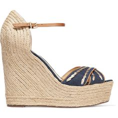 Schutz Hula leather and denim espadrille wedge sandals (510 MYR) ❤ liked on Polyvore featuring shoes, sandals, mid denim, high heel wedge sandals, denim wedge sandals, blue sandals, ankle strap wedge sandals and platform sandals