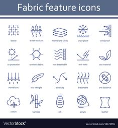 Fabric and clothes feature line icons. Textile Logo, Sport Icon, Textile Fabrics, Graphic Design Posters, Line Icon, Design Thinking, Fabric Material, Icon Design, Graphic Design