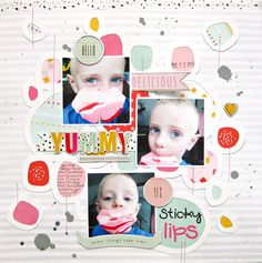 https://flic.kr/p/u4rbMC | sticky lips Layout by Audrey Yeager using cut file from JustNick shop and papers from Dear Lizzy Fine & Dandy.