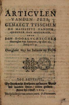 Articvlen vanden peys, gemaect tvsschen de Maiesteyt vanden Coninck van ... - Google Books