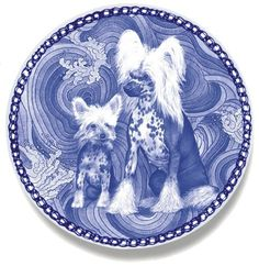Chinese porcelain plates, Crested Danish Blue