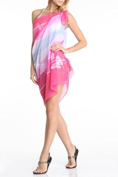 Henrietta Beach Wrap in Pink Stripe.