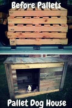 Before and After - Pallet Dog House - 100% Reclaimed #pallet wood just like as free free.