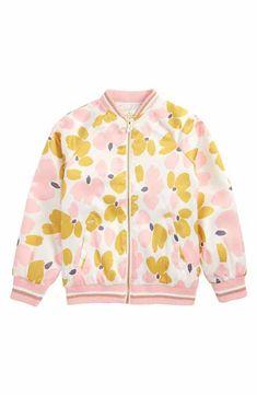 kate spade new york printed satin bomber jacket (Toddler Girls, Little Girls & Big Girls)