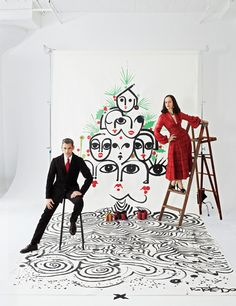 Designers Ruben and Isabel Toledo's Ruben created this most festive illustration (Credit: Marcus Mam) - For bon apetite
