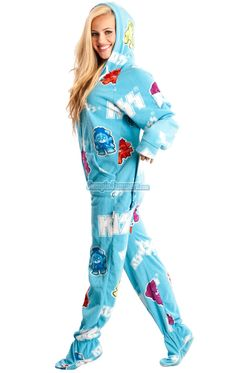 DROP SEAT HOODED FOOTED PAJAMAS - All attitude all night. Features Hoodie 2515241fd