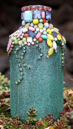 Bejewelled Rhinestones Vintage Bottle  Petit by ASoulfulJourney, $130.00