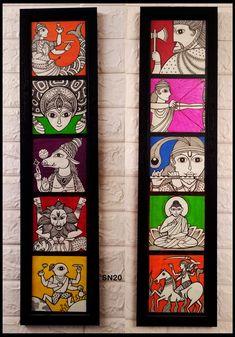 These are lord vishnu's dashavater Matsyavatar (Fish) Kurmavatar (Turtle) Varaha (Wild boar) Narsimha (Lion) Vamana Parshurama Ram Krishna Buddha Kalki Kerala Mural Painting, Madhubani Painting, Indian Art Paintings, Mandala Art Lesson, Mandala Artwork, Phad Painting, Coaster Art, Cute Canvas Paintings, Madhubani Art