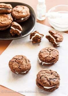 Soft chocolate chip brownie cookies sandwiched with a peppermint cream. Get the recipe