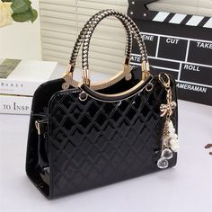 OLGITUM Cute Tote Popular Large PU Leather Tote Shoulder Bag Ladies Messenger Chain Plaid Handbag