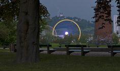 Linz Pöstlingbergkirche mit Blitz - ©Carambol Blitz, Nightlife, Celestial, Outdoor, Long Exposure, Night Photography, Outdoors, Outdoor Games, Outdoor Living
