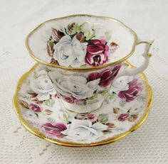 "RESERVED for S*Royal Albert Tea Cup and Saucer, Summer Bounty Series ""Pearl""…"